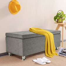 Large Ottoman Storage Grey Toy Seat Bench Bedding Blanket Stool Box Bedroom Home