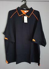 Biz Collection Mens P29012 Fusion Navy Orange Short Sleeve Polo Size 5XL New