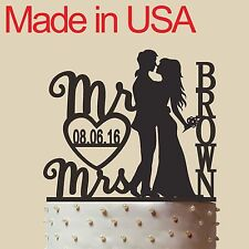 Personalized Bride and Groom Cake Topper, Mr & Mrs, Acrylic, Made in USA,5""