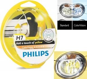 Philips ColorVision H7 55W Yellow Two Bulbs Head Light Low Beam Reflector Lamp