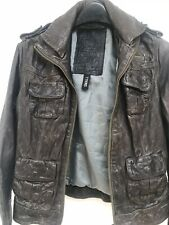 Superdry Women's Megan Brown Distressed Leather Biker Jacket - Size Small