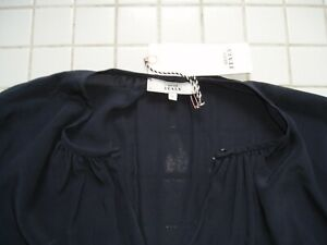 Bluse Tunika ITALY 0039 Gr. L Seide Petrol Stehkragen  Langarm neu ungetragen