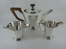 Splendido Solido Sterling Silver semplice Art Deco Teiera Set SHEFFIELD 1945 1047G