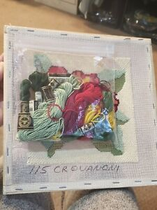 Kit of DMC Embroidery Floss Skeins - Unfinished Needlepoint Frame Red Hibiscus