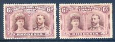 Rhodesia 1910 Double Heads 6d mint light hinge & 6d no gum shades(2019/02/06#06)
