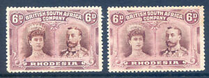 Rhodesia 1910 Double Heads 6d mint light hinge & 6d no gum shades(2019/02/06#06)