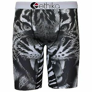 Ethika the Staple Fit Black Tiger Face Men Underwear No Rise Boxer Shorts Briefs