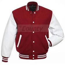 Varsity College Baseball Maroon Fleece Body & White Faux Leather Sleeves Jacket
