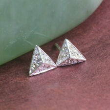 925 Sterling Silver Stud Earrings, Pyramid Shape with Cubic Zirconia