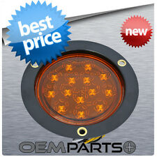 "ROUND 4"" TRUCK TRAILER AMBER LED LIGHT TURN SIGNAL PARKING 14-DIODE FLUSH MOUNT"