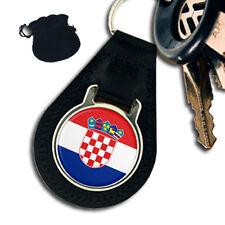 CROATIA CROATIAN FLAG  LEATHER KEYRING / KEYFOB GIFT