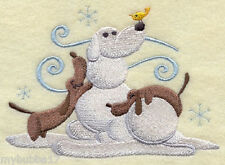 DASCHUND AT PLAY EMBROIDERED BATHROOM HAND TOWEL SET OF 2