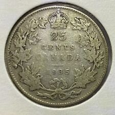 1935 Canada 25 Cents Quarter Dollar Silver Coin - King George V