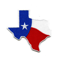 Texas Wavy Flag State Iron On Embroidered Patch