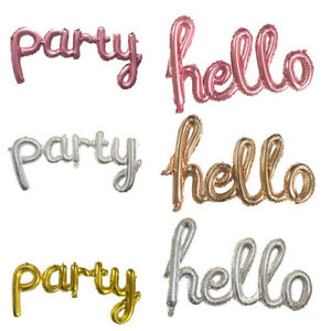 Gold Sliver Hello Party Letter Foil Balloon Wedding Birthday Party Decoration