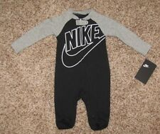 NIKE Footed Coverall 0-3 3-6 6-9 9-12 Months Black Gray Blue Pink Pajama Sleeper