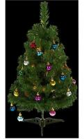 Pre-lit Dressed Christmas Tree Table top Suitable - 20 Warm White LEDs 60cm tall