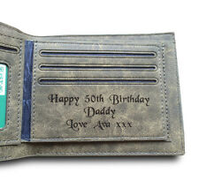 Mens Personalised Engraved Real Leather Wallet Birthday Gift for Dad Grandad