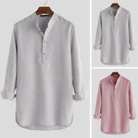 Mens Kurta Pajama Shirt Top Tunic Indian V NECK Kurta Short Kaftan T shirt Dress
