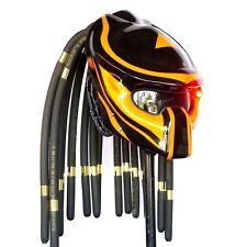 Custom Predator Helmet Glossy Yellow Black Chopper Bobber Motorcycle Open-Face