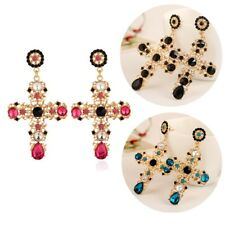 Baroque Style Crystal Luxury Gold Cross Large Long Dangle Earrings for Lady #S