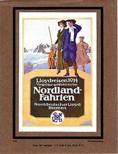 Original vintage print GERMAN LLOYD NORWAY TRAVEL 1914 Prüll