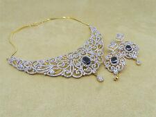 Cubic Zirconia Designer Choker Wedding Necklace Earrings Set  Auction Jewelry