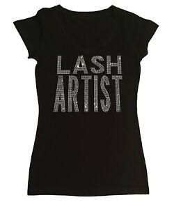 Women's Rhinestone T-Shirt Lash Artist in Size - Sm to 3X