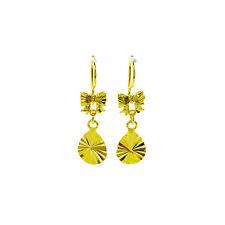 Pair earrings hook drop cutting gold plated 24K 1MC shining glitter sparkle