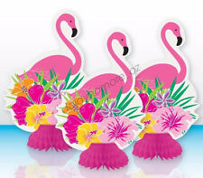 Hawaiian Luau Beach Party 3x Flamingo Honeycomb Centrepiece Table Decorations