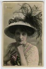 c 1907 French Glamour Glamor PRETTY FASHION LADY Theater O'Reilly photo postcard