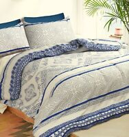 Cotton King Size Duvet Doona Quilt Cover With Pillowcases Set Hampton Style
