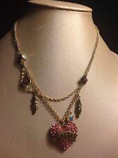 """Betsey Johnson Love Heart """"Flights Of Fancy"""" Necklace"""