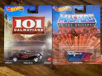 Hot Wheels Masters Of The Universe Land Shark & Cruella De Vil 2 Car Lot VHTF