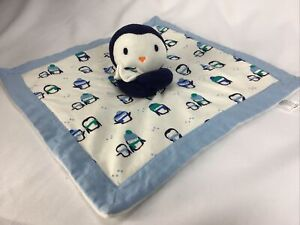 Gymboree Blue Penguin Baby Essentials Blanket Plush Security Lovey 2016 Navy