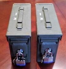 "2  LOCKABLE 30 CAL  METAL  AMMO CANS (M19A1 SCF) 10X7X4"" W/LIDS & A389 PADLOCKS"