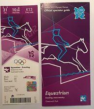 Billete de Londres 2012 Olímpico Ecuestre Concurso Completo 31 de julio & espectador guía * como Nuevo *