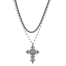 Lux Accessories Black Tone Faux Pearl Crystal Rhinestone Filigree Cross Necklace