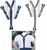 Unisex ADJUSTABLE BRACES Suspenders Grey Navy with White Dots for Pants Skirts