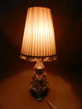 Stehlampe Tischlampe Porzellan Sandizell Oberbayern Blüten Schirm Plissee 39cm