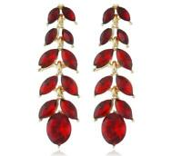 Gold tone ruby red Crystal Dangle lead Drop Dangle Earrings Pair Prom