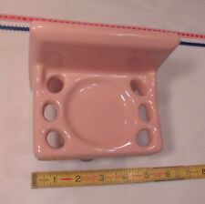 "Vintage *Corallin Pink* Classic Glossy Ceramic Toothbrush Holder; 5"" X 5""  Japan"