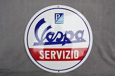 Vespa Servizio Piaggio Schild Enamel sign Emailschild ECHTE Emaille Emblem 40 cm