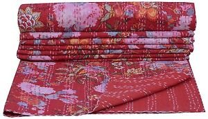 Indien Rouge Floral Double Taille Kantha Couvre Lit Couverture Ralli Hippie