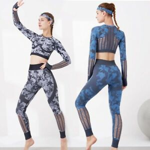 Women's Compression Workout 2 Piece Yoga Outfits Running Leggings Corp Top Sets