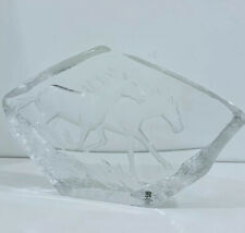 More details for mats jonasson art glass crystal horses- excellent condition