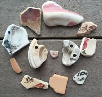 12 Unique Pieces Very Old Pottery Sea Glass Art Mosaic Crafts #396