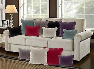 Velvet Quilted 43x43cm Cotton Cushion Cover Boudoir Plum Red Black Cream Silver