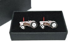 David Brown Tractor Cufflinks Gift Boxed Enamel Wedding Farming White & Brown