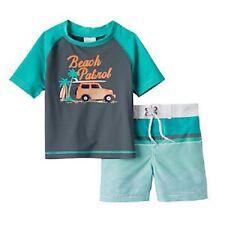 Carter's Beach Patrol Green Swimsuit & Rash Guard Top Infant Baby Boy 12 Months
